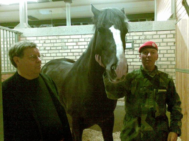 Robin with Odin, the Swedish Cavalry Kettledrum Horse.