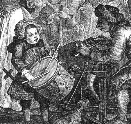 Wm. Hogarth; The Enraged Musician, 1741, detail.