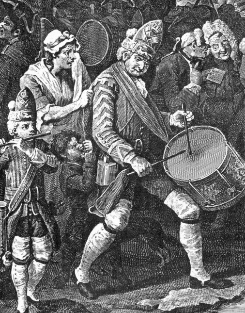Wm. Hogarth; The Enraged Musician, 1741, detail.