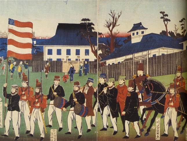 Procession of Foreigners at Yokohama (detail),1861;Yoshikazu, (fl. ca. 1850-70). courtesy, The Stuart Jackson Gallery, Toronto.