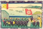 Procession of Emporer Meiji Through Tokyo to Chiyoda Palace-from 12 views of Tokyo; Kuniteru II (1829-74). collection, R.E.