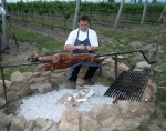 Chef Michael Dixon guarding dinner-Eigensinn farm lamb
