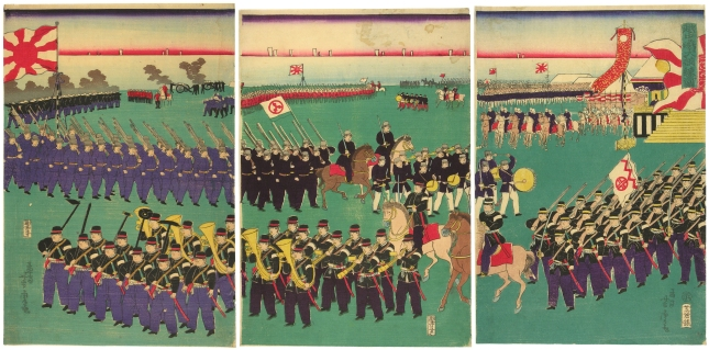 Troops on Parade, 1870: Mosai Yoshitora (c.w.1840-1870). collection, R.E..