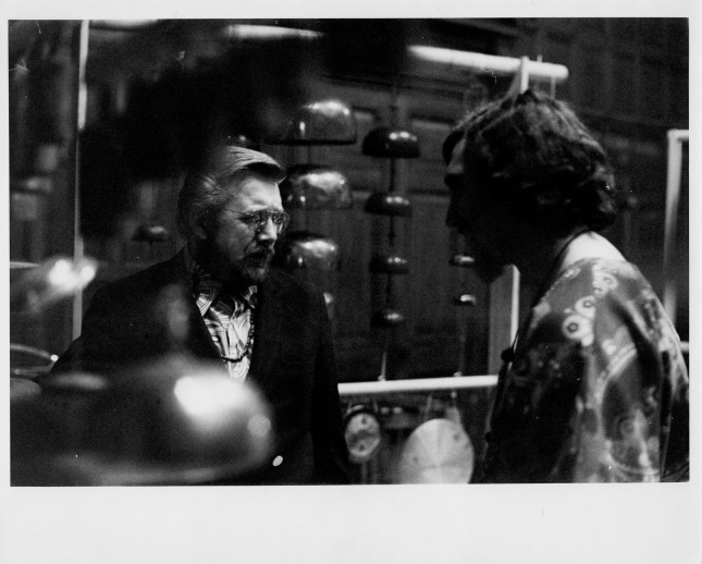 warren Benson and Bill Cahn after 1st Nexus concert, 1971.