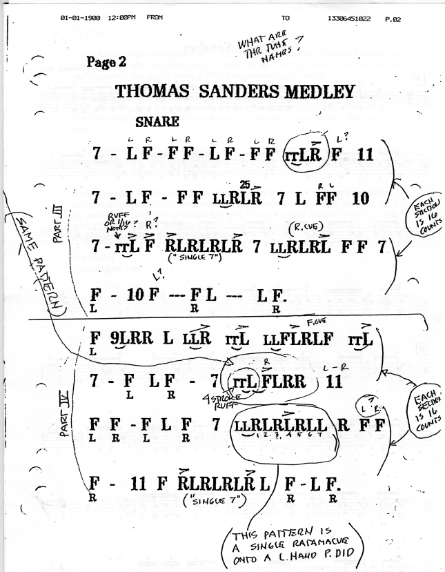 2006-Thomas Sanders Medley, Snare drum in Lancraft shorthand.