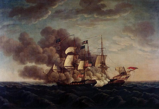USS Constitution vs H.M.S. Guerriere, 19 August, 1812 .