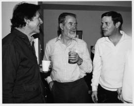 John Cage, Paeder Mercier and R.E. during a Celtic Festival party in Toronto, Ontario, Canada, 198?