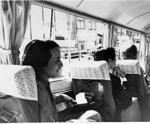 Toru on the Nexus tour  bus, 1976