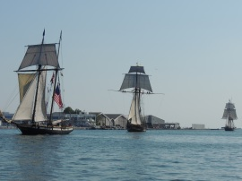 Tall Ships appear from Humber Bay.