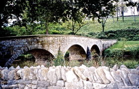 Burnside's  Bridge  crossing Antietam Creek. Little has changed since the Battle of Antietam or Sharpsburg, 17 September 1862.