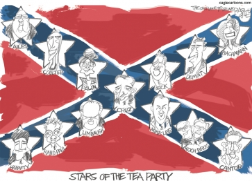 A Tea Party Flag - Top left to lower right: Ailes, Coulter, Palin, Cruz, Mike Lee, Koch Brs., Cantor.  Lower left to top right: Hanity, Rand Paul, Limbaugh, Cruz, Beck, Demint, Bachman.
