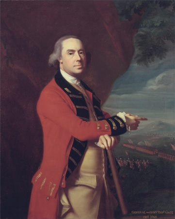 Gen. Thomas Gage, Governor of the Province of Massachusetts Bay In office 13 May 1774 – 11 October 1775.  Portrait by John Singleton Copley, circa 1768