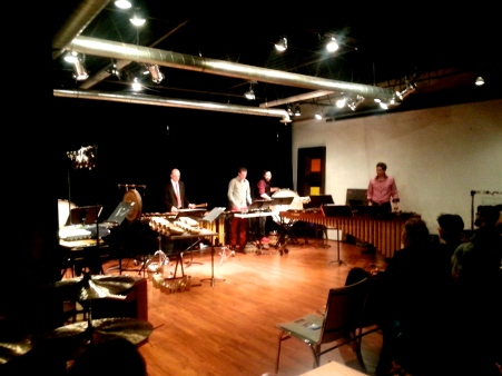 TorQ Percussion Quartet in the Array Music Concert Hall, 20 November, 2013.  L. to R.  Adam Campbell,  Jamie Drake Daniel Morphy, Richard Burrows.  Cell phone photo by Frank Morphy.