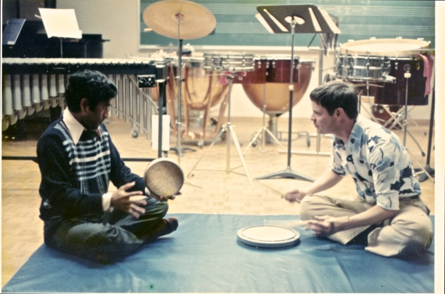 "Trici and I learning ""Three Camps"" on Kanjira and Practice Pad at York University ca. 1972-3."