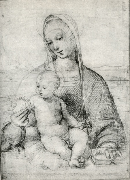 Raphael, Madonna with Pomegranite, 1502, crayon.