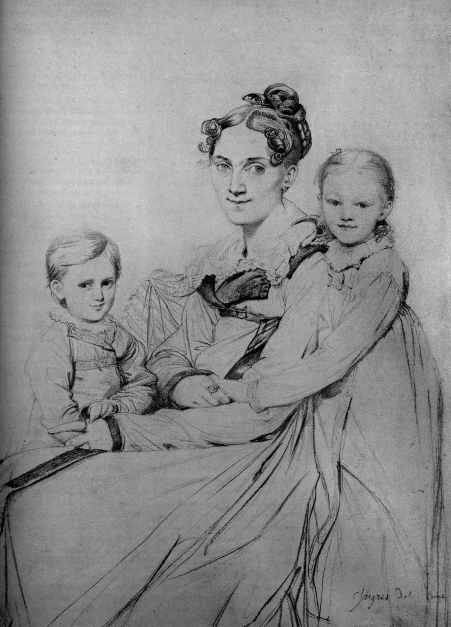 Ingres, Frau Ritter and daughters, 1805, graphite.