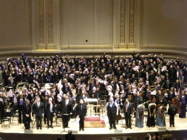 Rochester Philharmonic with towels and fans in Carnegie Hall, NYC, 7 May, 2014.