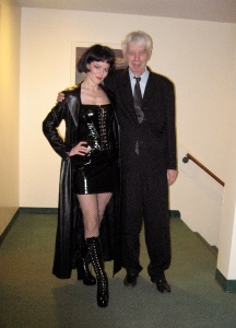 "Barbara Hannigan in costume backstage with conductor Reinbert de   Leeuw after a performance of Ligett's ""Mysteries of the Macabre"" in Lincoln Center, New York."