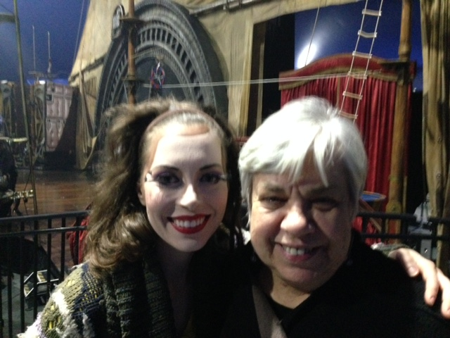 Christa Mercey, percussionist Cirque du Soleil, out of costum, but still in make up with Eleanor after the show.