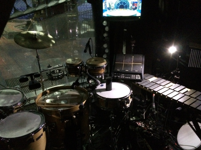 Just off stage, Christa's percussion set up with TV monitor.