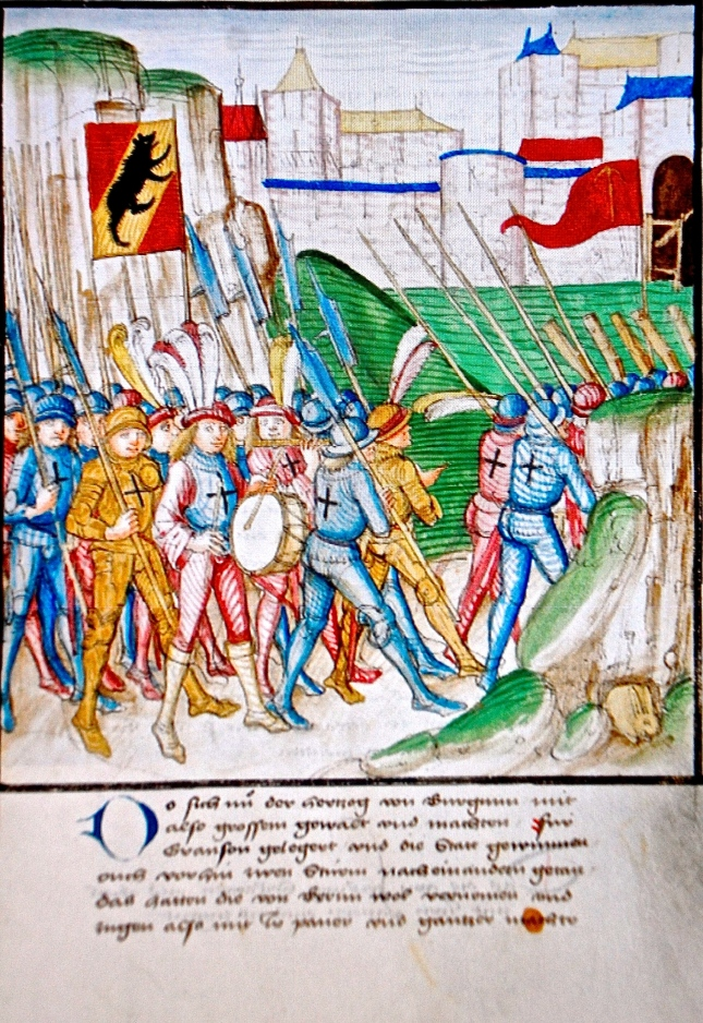 Bern, Burgerbibliothek, Mss.h.h.I.3 Parchment · 472 ff. · 38 x 27.5–28 cm · Bern 1478-1483, Diebold Schilling, Amtliche Berner Chronik, vol. 3. Swiss Halberdiers and Pikemen approaching the Battle of Morat (Murten),1476. photo courtesy Markus Estermann, STPV. Click on photo to enlarge.